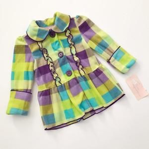 NWT! Kids Headquarters Plaid fleece jacket